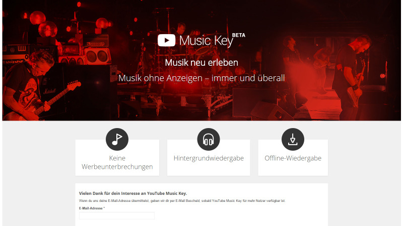Derzeit noch nur mit Invite: YouTube Music Key (Copyright: YouTube)